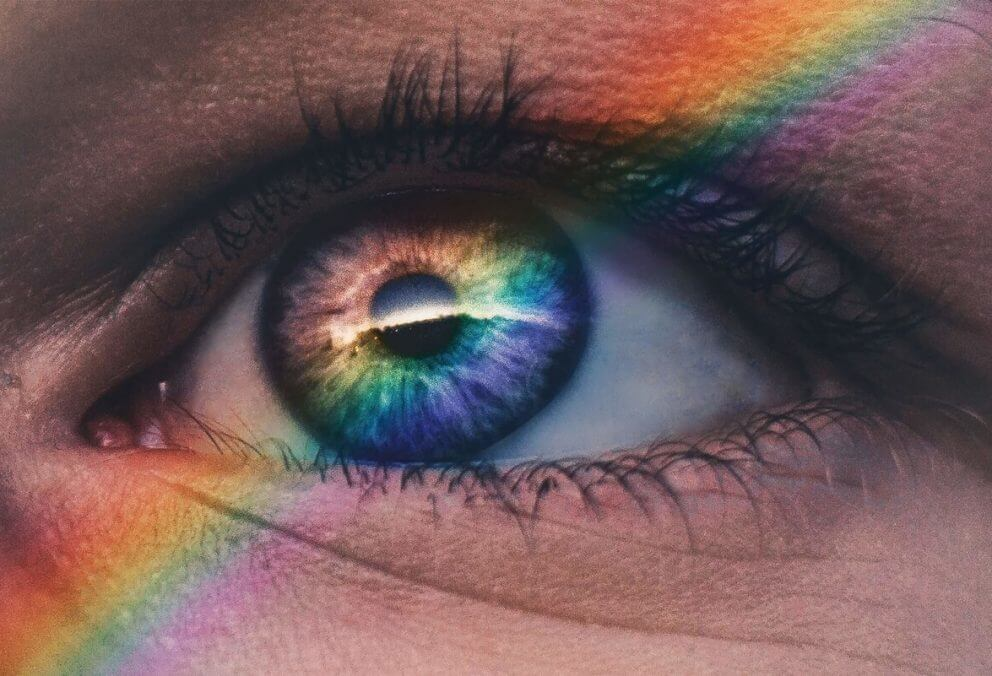 rainbow over an eye
