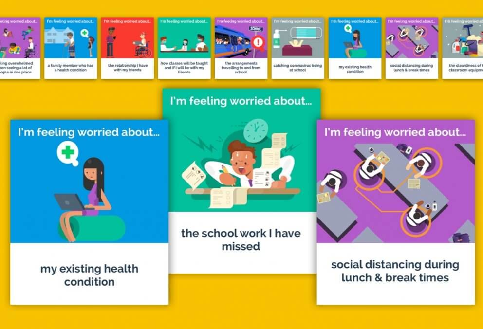 flashcards created for young people's worries